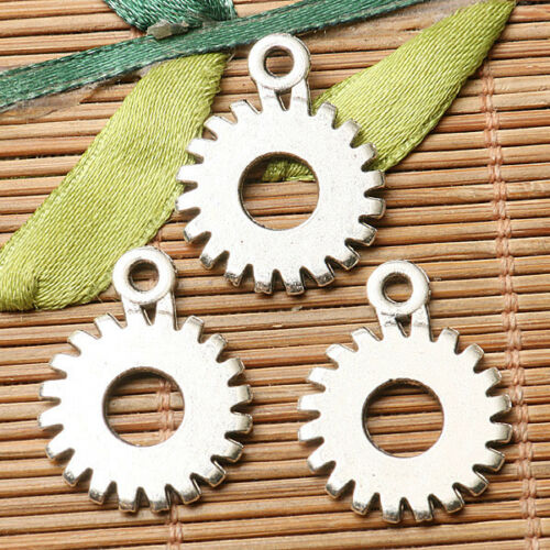 8pcs dark silver color 2sided 18.7mm wide  round gear design charms  EF2874