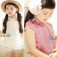Kids Girls' Clothing Peter Pan Collar Chiffon Dotted Cap Sleeve Shirt Blouse Top