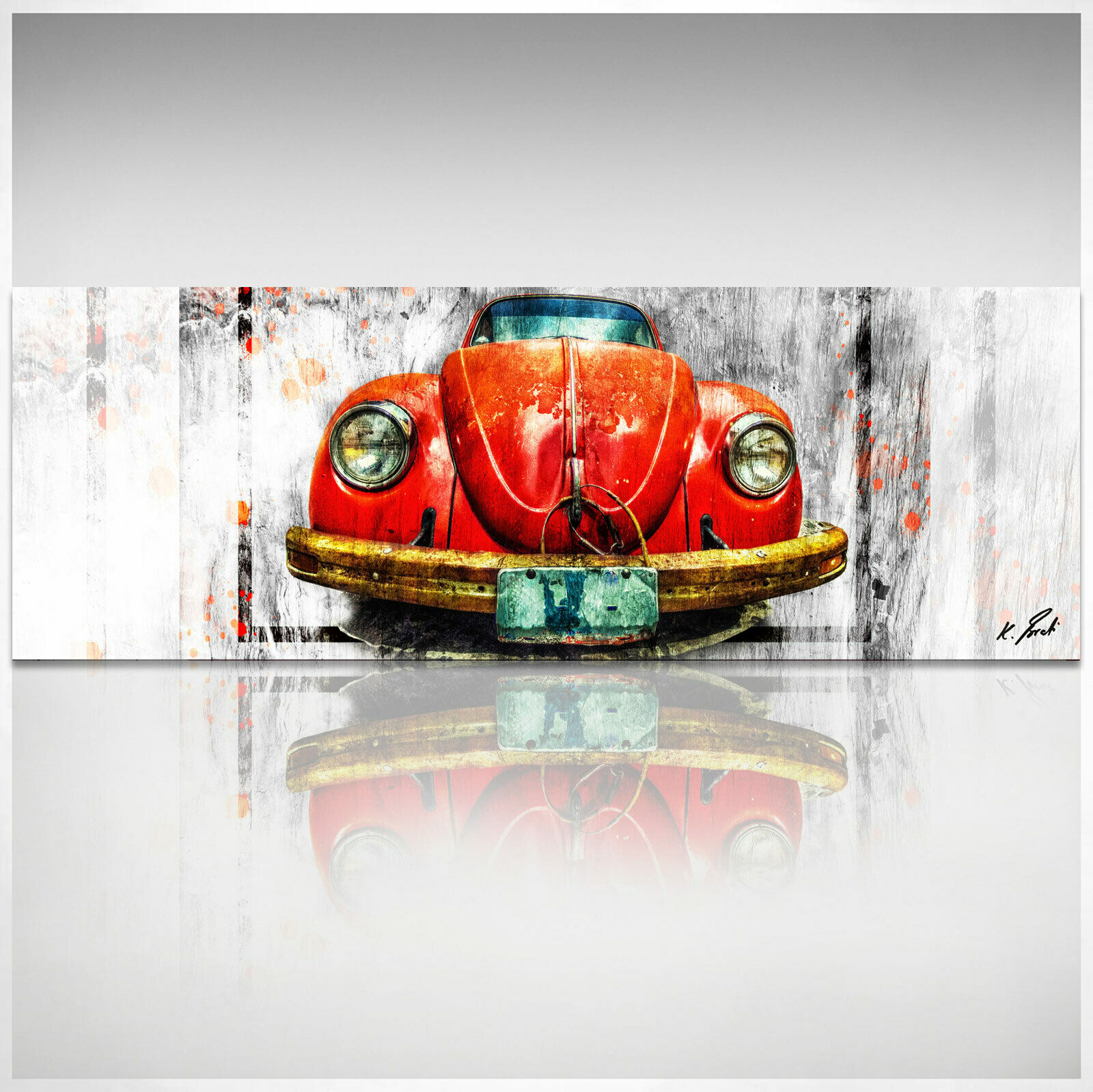 Panorama Bild Auto VW Käfer Oldtimer Leinwand Abstrakte Bilder Wandbilder D1998