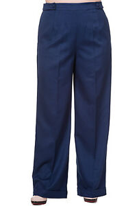 XXL-PLUS-SIZE-1940-039-S-FLARED-NAVY-BLUE-WIDE-LEG-TROUSERS-PANTS-VINTAGE-WORK-18