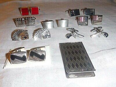 Di Carattere Dolce Gemelli Vintage Di Qualità 8 Coppie 1 Soldi Clip Harlequin Design Tutte D'argento Tono-mostra Il Titolo Originale