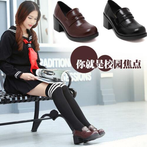 Women Block Heels Shoe Japanese School Girls Uniform Shoes Brogue Oxfords Pumps