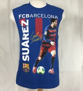 493e92e72 Barcelona FCB Luis Suárez Soccer Sleeveles T Shirt Men Medium Blue ...