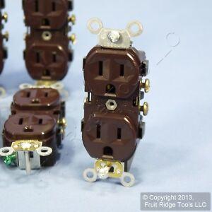 10-Leviton-Brown-COMMERCIAL-Outlet-Duplex-Receptacle-NEMA-5-15R-15A-125V-Bulk