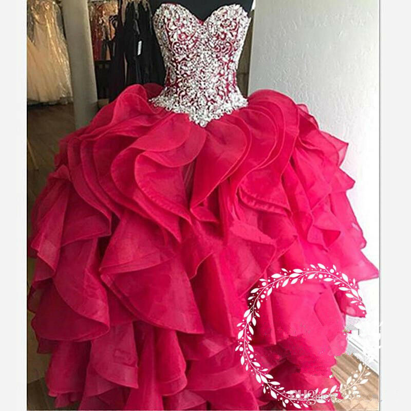 Crystal Rhinestone Quinceanera Dresses 2019 Tiered Cascading Ruffles Ruffles Ruffles Sweet 16 3ed3b6
