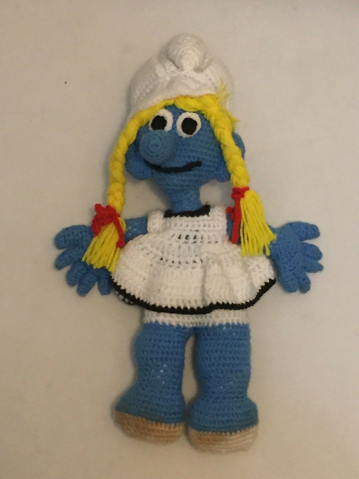The SMURFS JUMBO Knitted Crochet Smurfette Smurf DOLL 21  Tall OOAK
