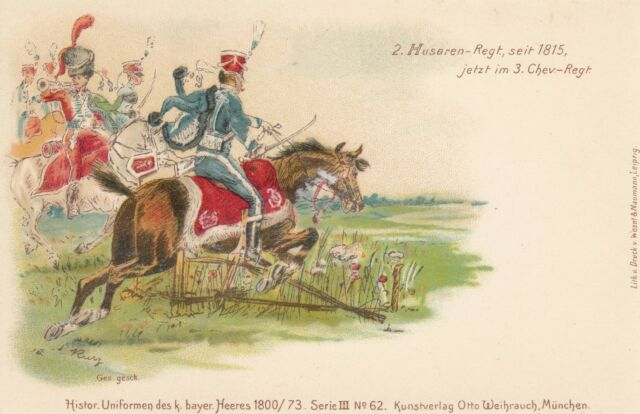Militär, Bayern, 2. Husaren Regiment, Farb-Litho, um 1900/05