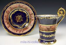 MEISSEN DRESDEN HAND PAINTED HARVEST SCENE FOOTED CUP & SAUCER