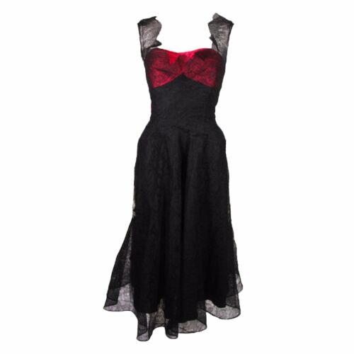 CEIL CHAPMAN Black Lace Cocktail Dress with Large… - image 1