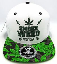 SMOKE WEED EVERYDAY Snapback Cap Hat Marijuana 420 Cannabis Dope Pot White NWT