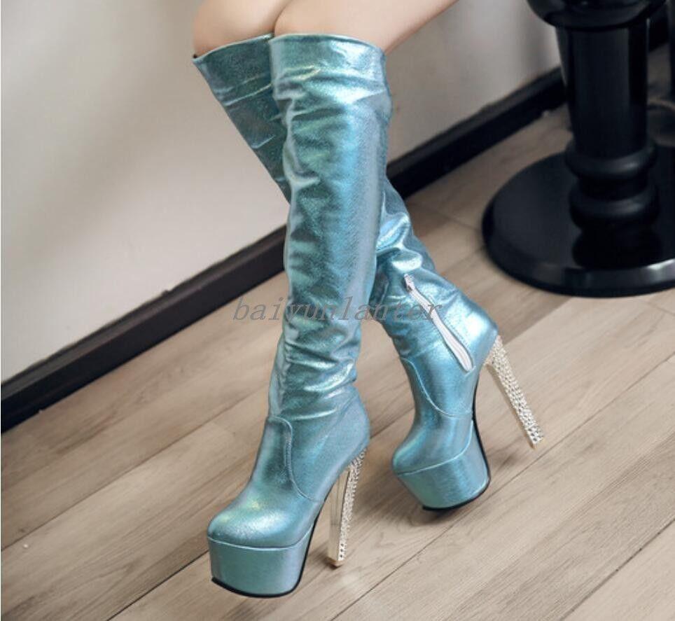 Korean Ladies Knee High Boots Platform Chunky Heel Round Toe shoes PU Leather