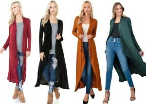 Women-039-s-Soft-Knit-Maxi-Duster-Cardigan-Long-Sleeve-Casual-Open-Front-Solid-Plain