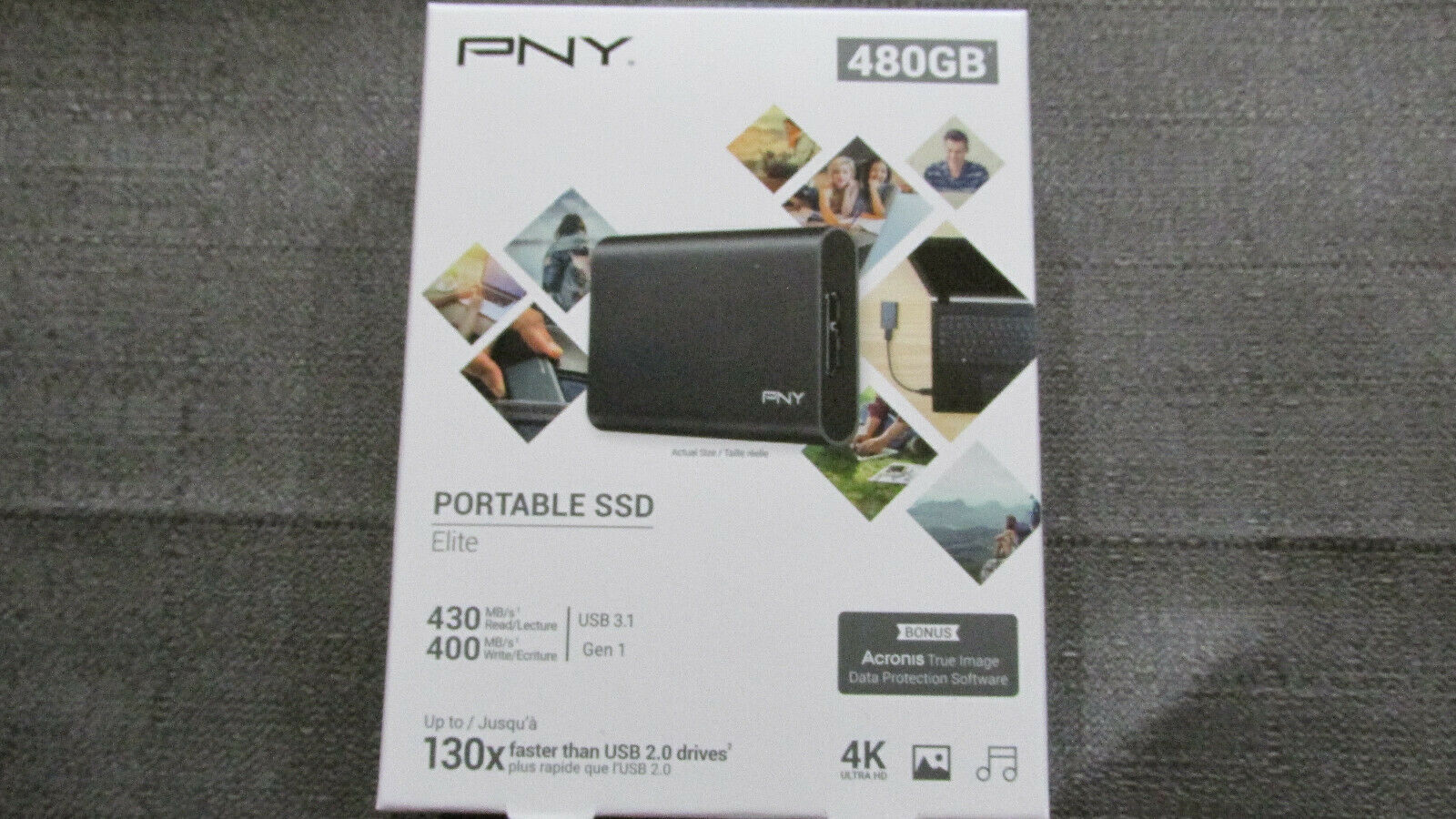 PNY Portable SSD Solid State External Drive Elite 480GB USB 3.1  New Sealed. Buy it now for 39.50