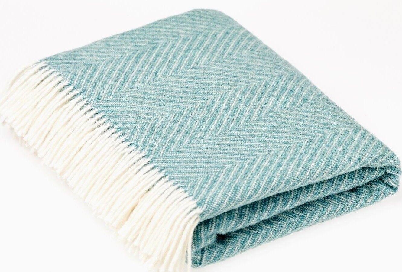BRONTE HERRINGBONE JADE GREEN THROW Pure New Shetland Wool Blanket Rug Bed GIFT