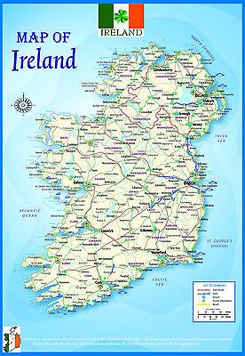 Cartina Geografica Irlanda Del Sud.A3 Gloss In Irlanda Mappa Geografica Atlante Politico Poster Educativo Ebay