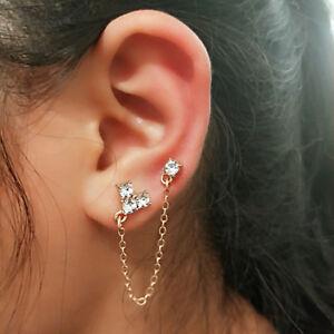 Woman Gold Rhinestone Long Chain Double Piercing Ear Stud Earring