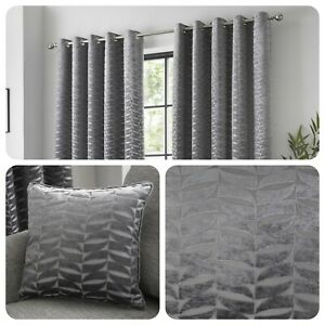 Curtina-KENDAL-Charcoal-Jacquard-Eyelet-Curtains-amp-Cushions