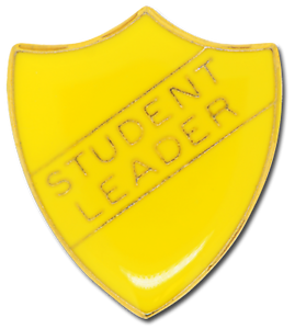 Student Council Pin Badge in Green Enamel Shield