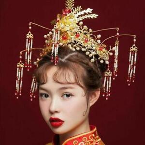 Wedding-Chinese-Bridal-Headdress-Phoenix-Pearl-Long-Tassel-Hair-Accessories