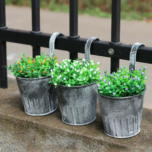 Vintage Iron Metal Hanging Flower Pots Plant Garden Planter Home