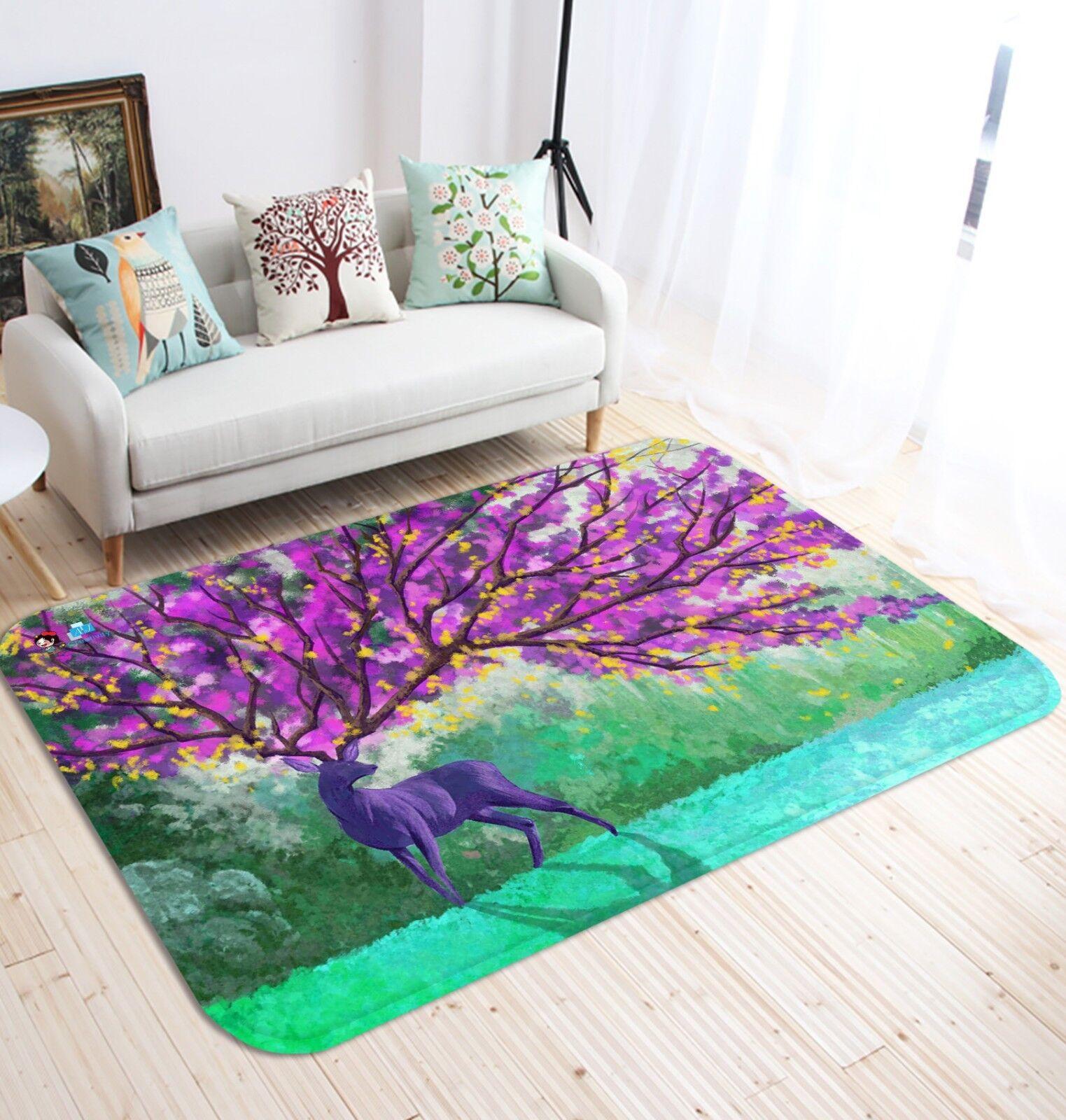 3D Vernice Cervo 3 tappetino antiscivolo tappeto camera Tappetino Qualità Elegante foto Tappeto UK Estate