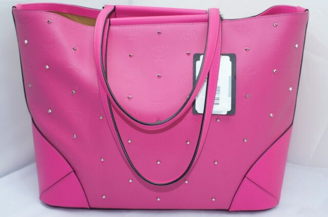 New Mcm Claudia Studs Per Tote Shoulder Bag Pink Handbag Medium