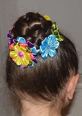 Abile Fatto A Mano Ragazza Fiore Chignon Wrap/top Knot, Kanzashi, Multi Colore-