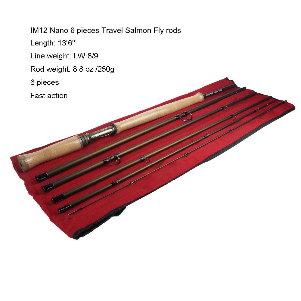Aventik IM12 Nano 6 piezas viaje salmón Fly Rods 13' 6  LW8 9, acción rápida