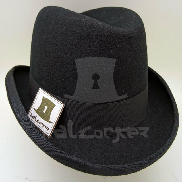 40011f128 VINTAGE Wool Felt Men Homburg Top Hat Gentlemen Fedora Topper NEW   Black    M L