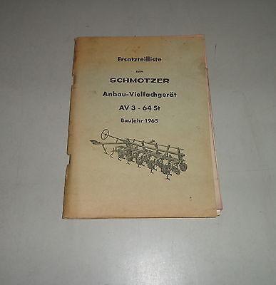 Dynamic Parts Catalog/spare List Schmotzer Extension Vielfachgerät Av 3-64 St 1965 Farming & Agriculture