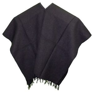 Extra Wide Mexican Poncho Solid Black One Size Fits