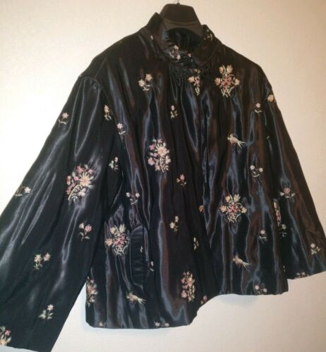 brodé court manteau de chinois veste de satin Sz Vintage L xqRwn1Oa1