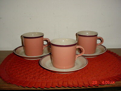 """6-PC MIKASA DISCOVERY """"CORAL SURF"""" CUP & SAUCERS/P3001/CORAL-TAN-BUR/CLEARANCE!"""