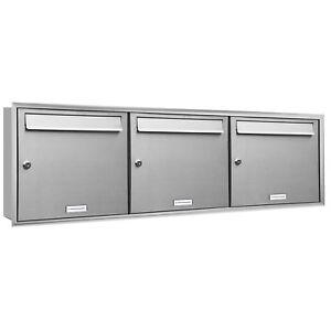 Briefkasten rostfrei AL Briefkastensysteme 3 Fach Briefkastenanlage modern 3er Unterputzbriefkasten Edelstahl Postkasten