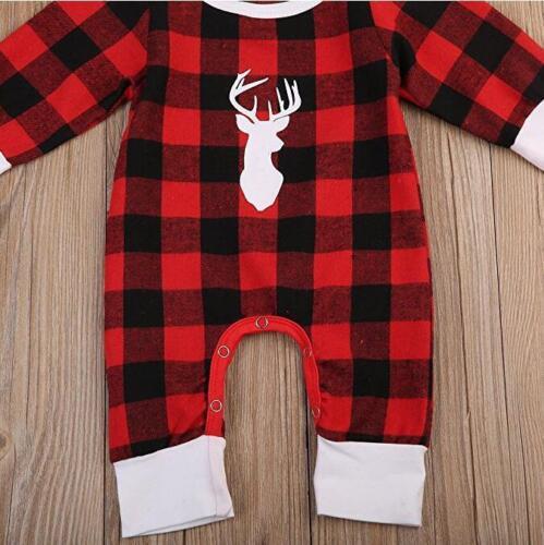 UK Seller** Chequered Christmas Reindeer Romper Sleepsuit **Free P/&P