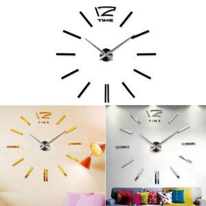 Details Zu Luxury Diy 3d Acryl Wanduhr Home Decor Bell Cool Verspiegelt Stickers Watch Rund