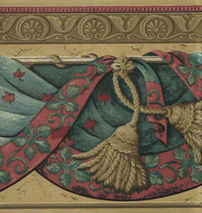 VICTORIAN-TEAL-GREEN-AND-BURGUNDY-DRAPERY-WITH-TASSLES-ON-GOLD-WALLPAPER-BORDER