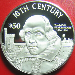 1997-COOK-ISLANDS-50-SILVER-PROOF-WILLIAM-SHAKESPEARE-ENGLISH-POET-WRITER-RARE