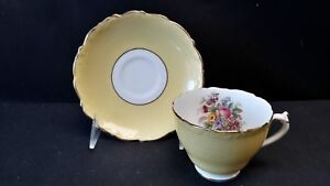 Coalport-England-Bone-China-Floral-Yellow-9507-Cup-amp-Saucer-With-Faults