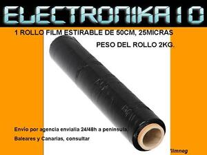 1-Bobina-rollo-film-estirable-negro-25-Micras-2k-rollo-Cinta-Embalar-embalaje
