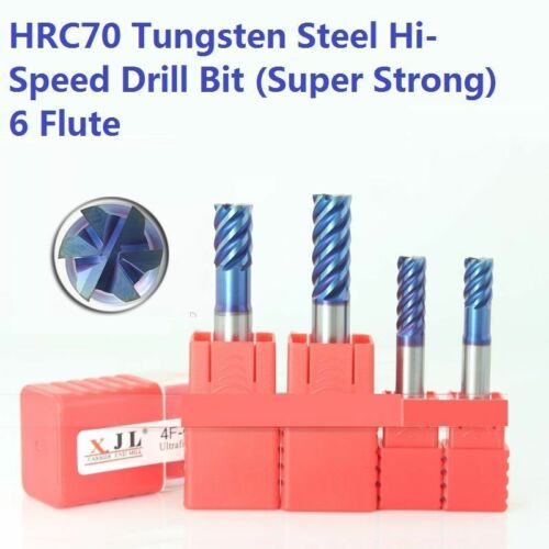 2pcs HRC70 Drill Bit Tool Set 6-Flute Tungsten Steel Super Strong 10-12mm Dia.