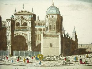 Engraving-c1770-Spain-Espana-Cathedral-Santo-Tome-Toledo-Jacques-Gabriel-Huquier