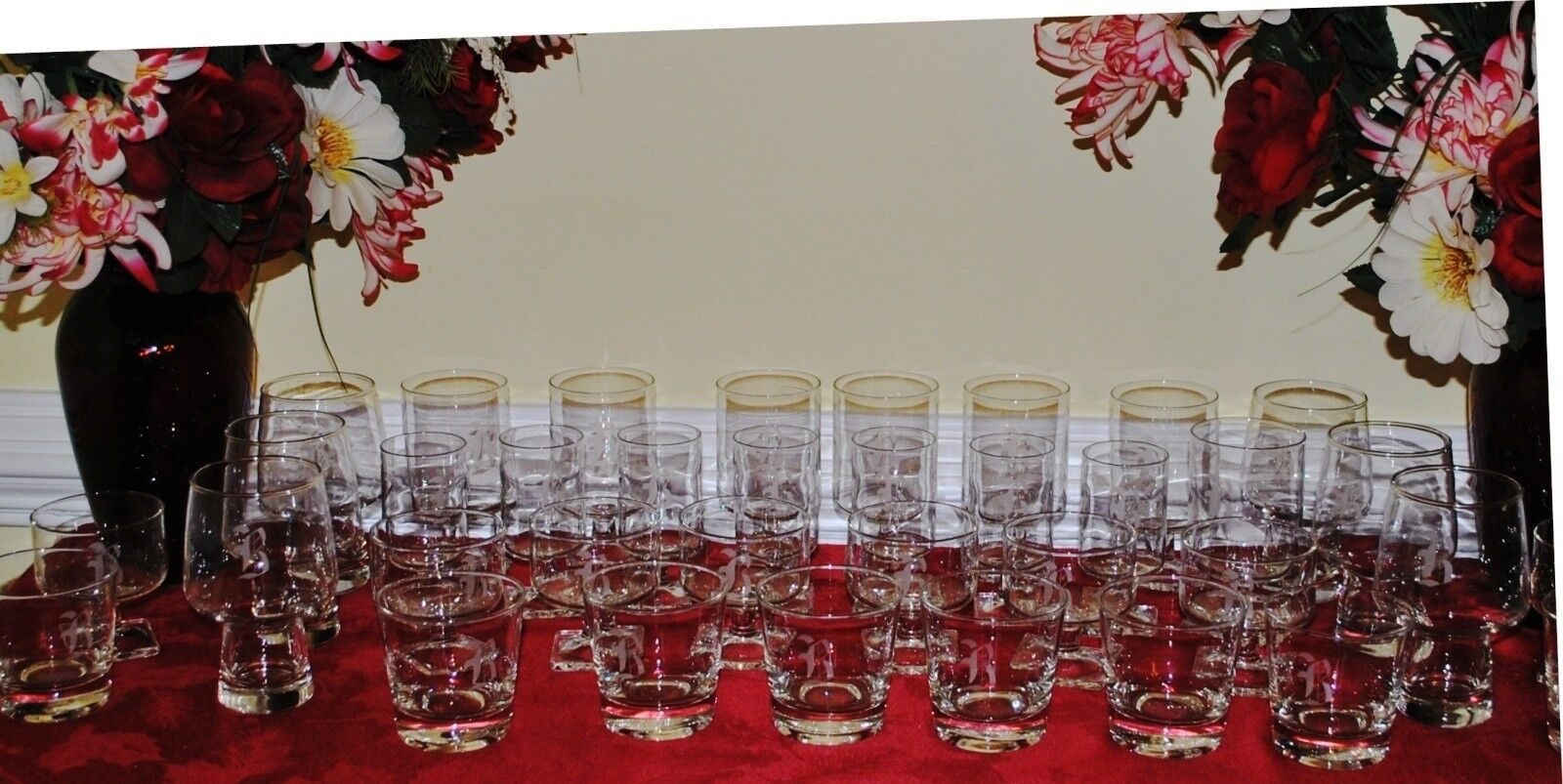 Personalized Etched Glassware Set of 37 Pcs Monogrammed Engraved Letter B