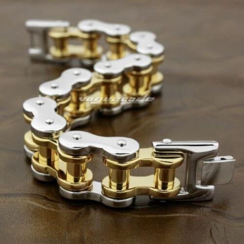 Details about  /2 Tone Stainless Steel Motorbike Chain Mens Biker Punk Bracelet 5S005A 9.2 inch