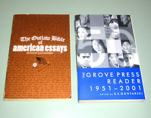 2 Books GROVE PRESS READER 50 YEARS Kerouac Paz AMERICAN OUTLAW ESSAYS Burroughs
