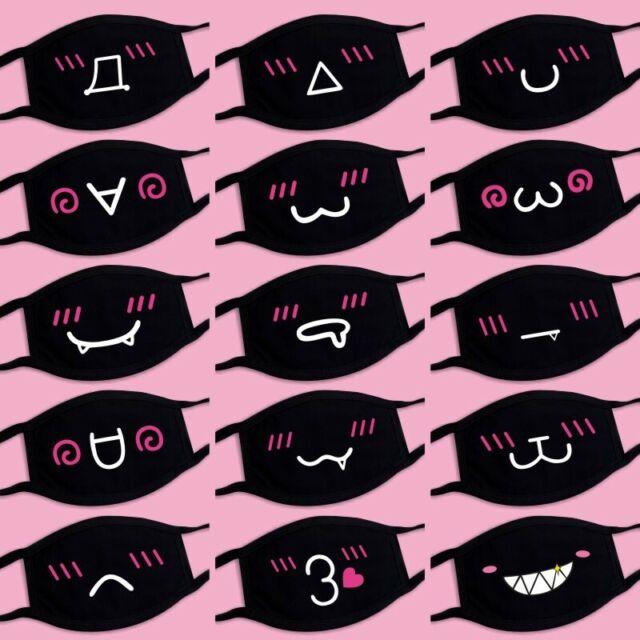 Cotton Face Cover Unisex Fashion Black Mouth Mask Anime Emoticon Muffle Mask