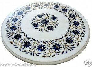 """18"""" White Marble Center Table Top Lapis Stone Marquetry Handmade Decorative H623"""