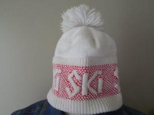 f8151533e17 VINTAGE SKI HAT CAP WHITE w  RED