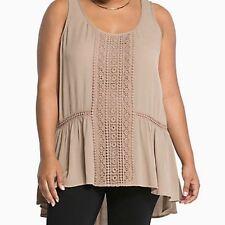 Torrid Brown Gauze Crochet Tank Top Size 1 Aka 1x or 14 16 #00424
