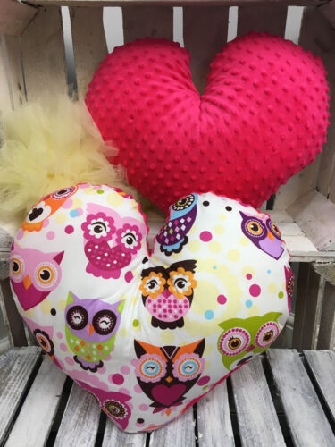 KIDS BABY REVERSIBLE PILLOW BEDDING IN HEART SHAPE COTTON SOFT PLUSH CUDDLE
